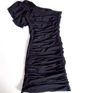 One shoulder slinky ruched mini dress